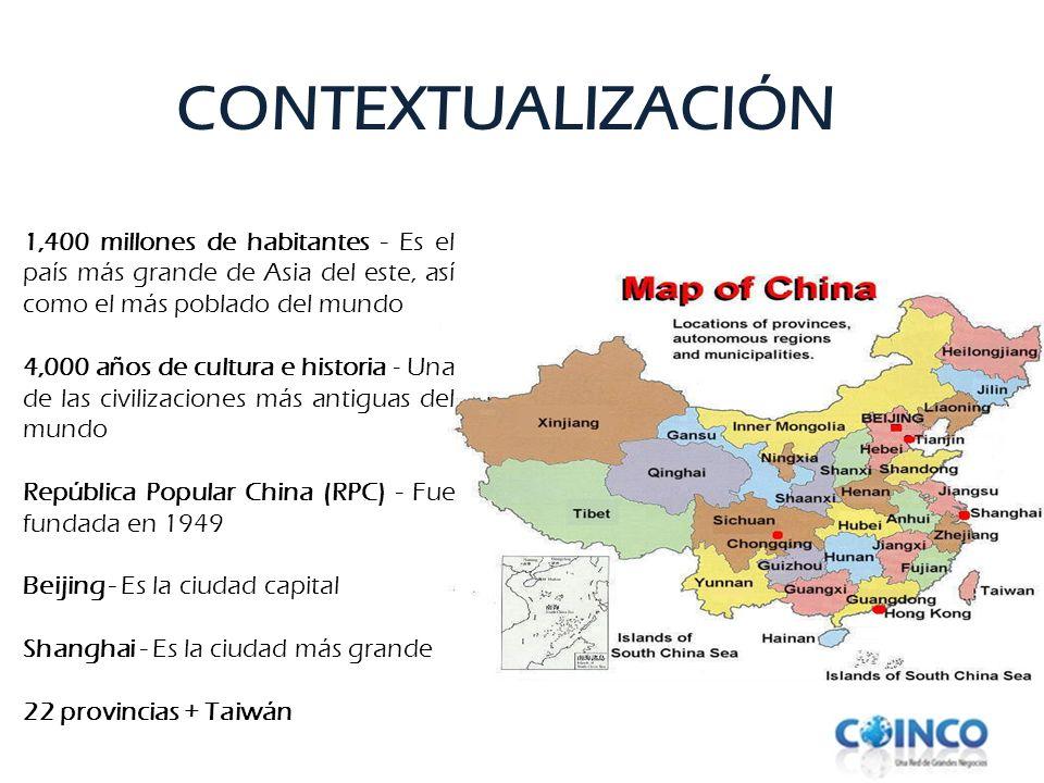 1,400 millones de habitantes - Es el país más grande de Asia del este, así como el más poblado del mundo 4,000 años de cultura e historia - Una de las