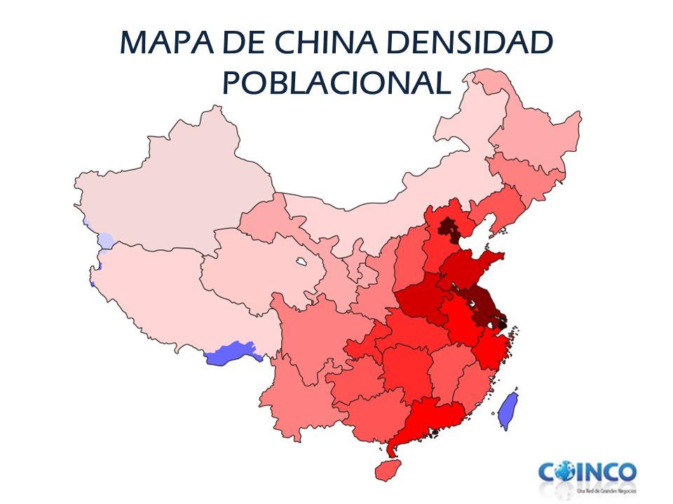 MAPA DE CHINA DENSIDAD POBLACIONAL