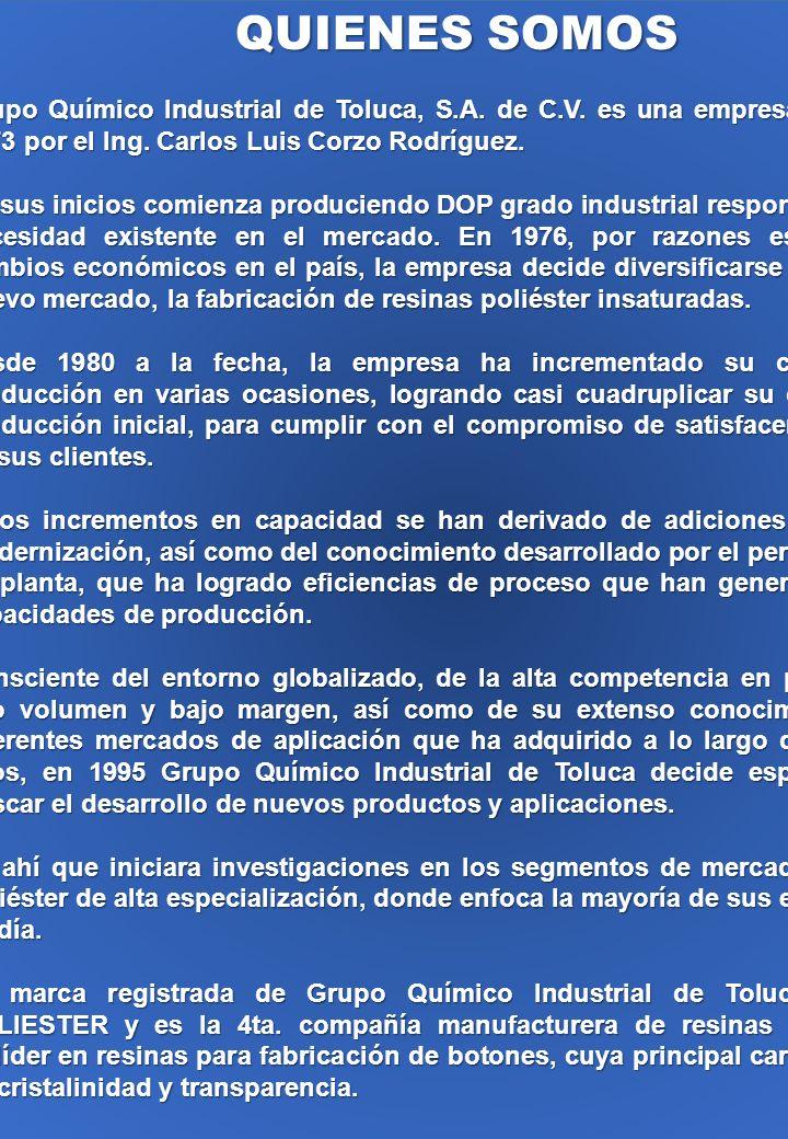 QUIENES SOMOS Grupo Químico Industrial de Toluca, S.A. de C.V. es una empresa fundada en 1973 por el Ing. Carlos Luis Corzo Rodríguez. En sus inicios