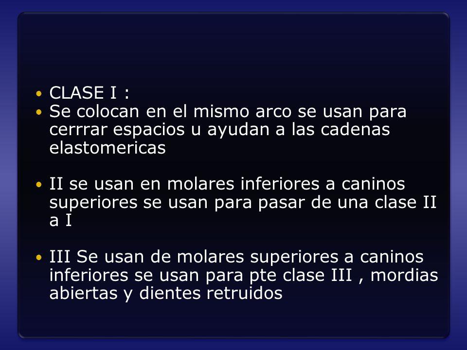 CLASE I : Se colocan en el mismo arco se usan para cerrrar espacios u ayudan a las cadenas elastomericas II se usan en molares inferiores a caninos su