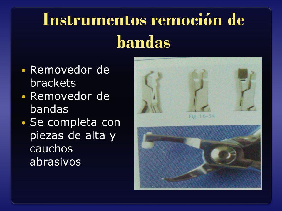 Instrumentos remoción de bandas Removedor de brackets Removedor de bandas Se completa con piezas de alta y cauchos abrasivos