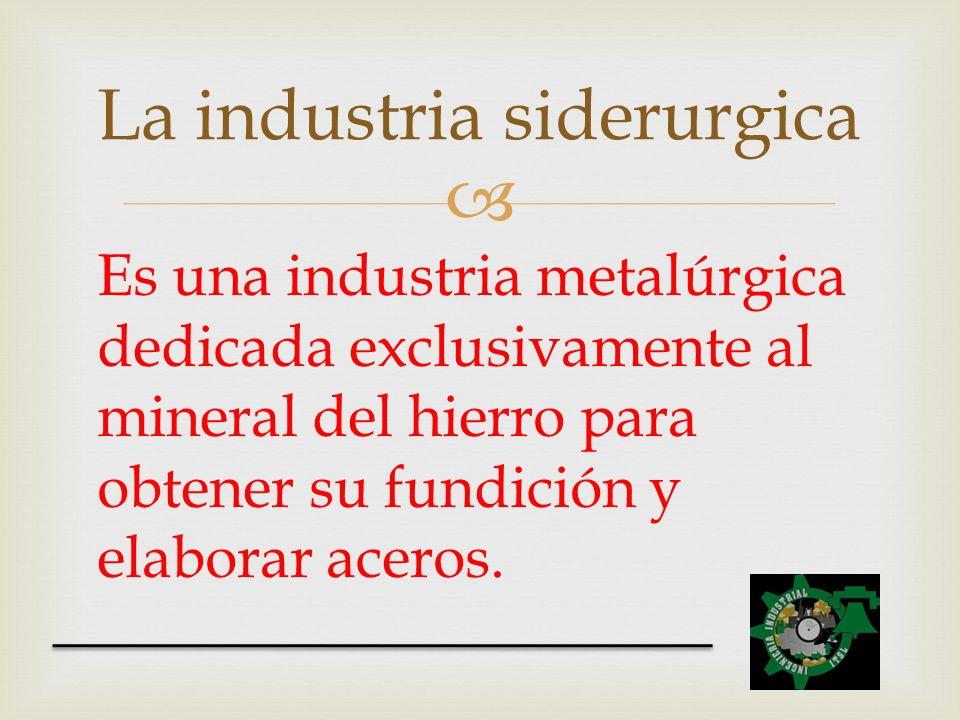 Es una industria metalúrgica dedicada exclusivamente al mineral del hierro para obtener su fundición y elaborar aceros. La industria siderurgica