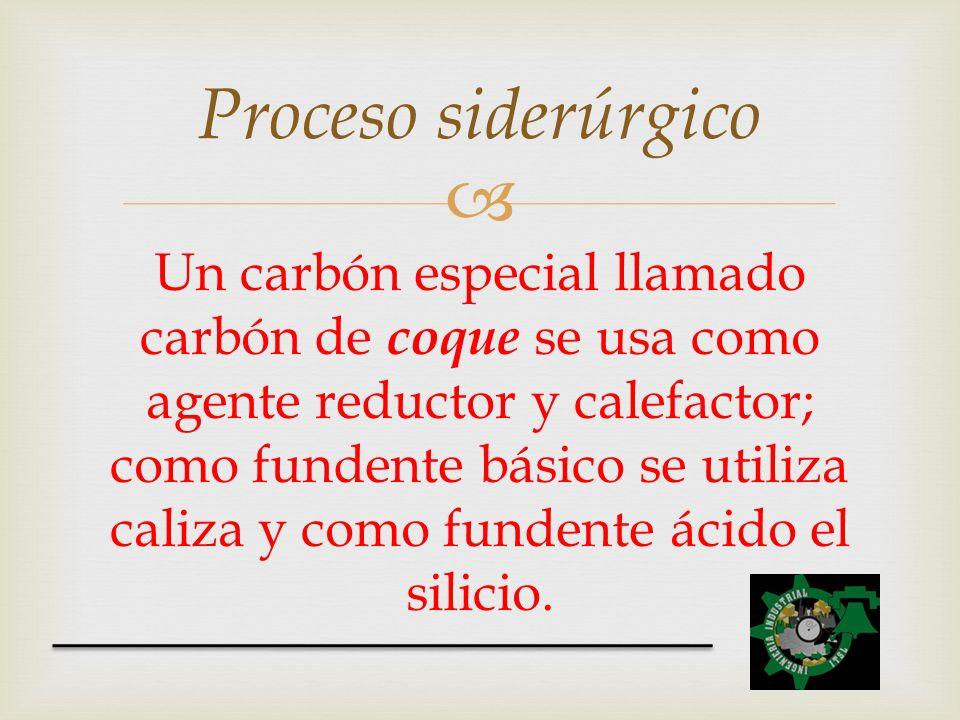 Un carbón especial llamado carbón de coque se usa como agente reductor y calefactor; como fundente básico se utiliza caliza y como fundente ácido el s