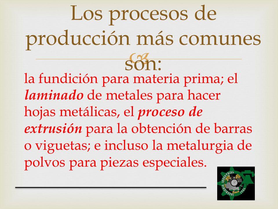 la fundición para materia prima; el laminado de metales para hacer hojas metálicas, el proceso de extrusión para la obtención de barras o viguetas; e