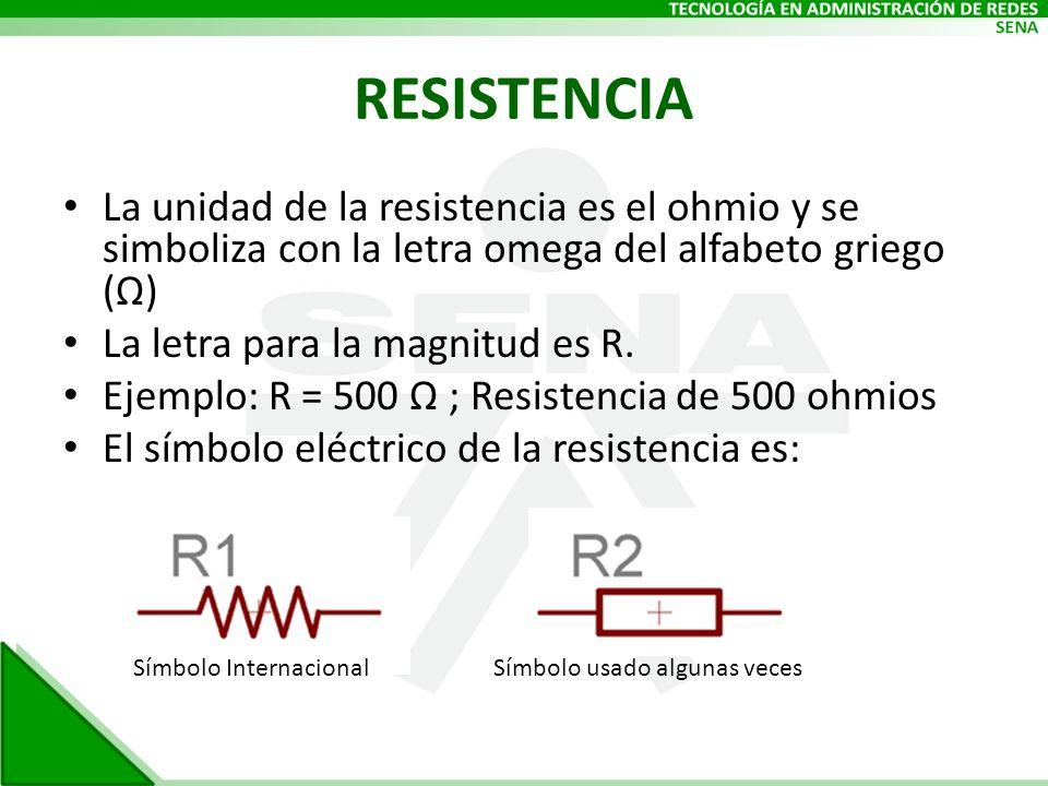 RESISTENCIA La unidad de la resistencia es el ohmio y se simboliza con la letra omega del alfabeto griego (Ω) La letra para la magnitud es R. Ejemplo: