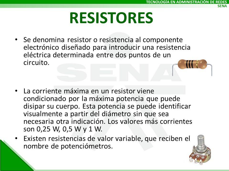 RESISTORES Se denomina resistor o resistencia al componente electrónico diseñado para introducir una resistencia eléctrica determinada entre dos punto
