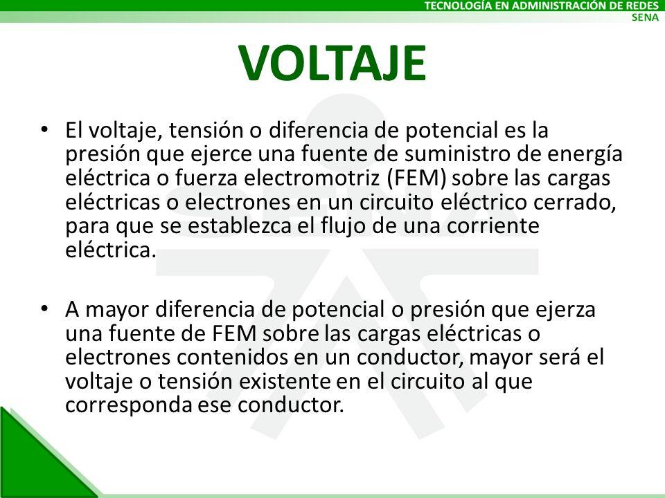 VOLTAJE El voltaje, tensión o diferencia de potencial es la presión que ejerce una fuente de suministro de energía eléctrica o fuerza electromotriz (F