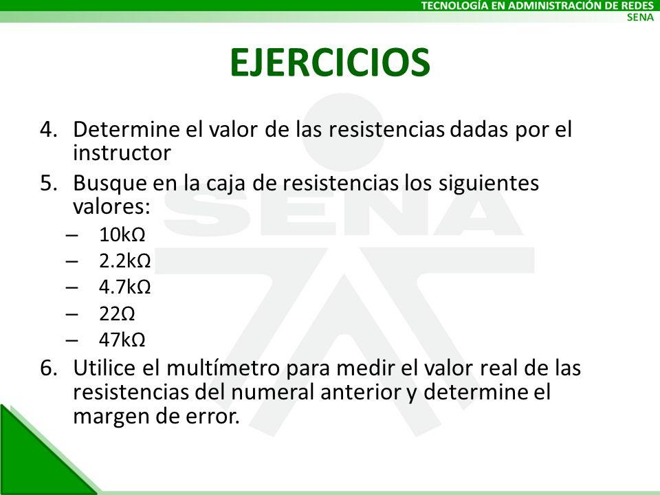 EJERCICIOS 4.Determine el valor de las resistencias dadas por el instructor 5.Busque en la caja de resistencias los siguientes valores: – 10kΩ – 2.2kΩ