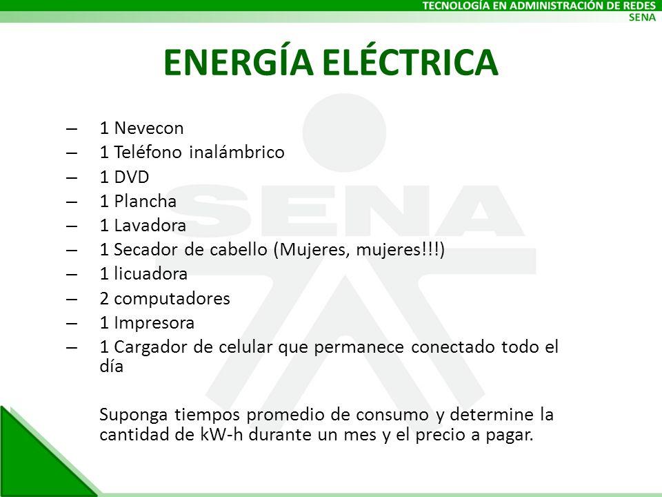 ENERGÍA ELÉCTRICA – 1 Nevecon – 1 Teléfono inalámbrico – 1 DVD – 1 Plancha – 1 Lavadora – 1 Secador de cabello (Mujeres, mujeres!!!) – 1 licuadora – 2