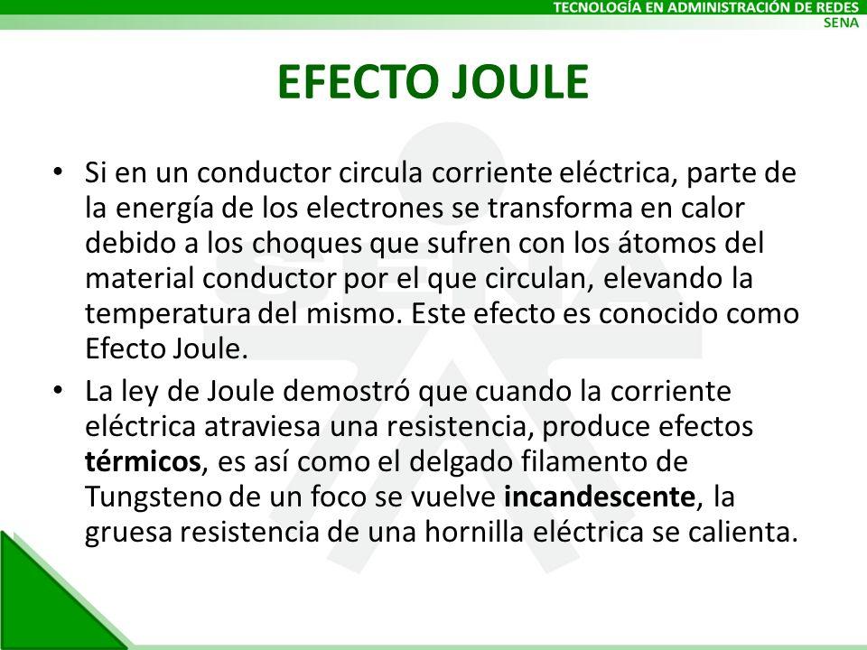 EFECTO JOULE Si en un conductor circula corriente eléctrica, parte de la energía de los electrones se transforma en calor debido a los choques que suf