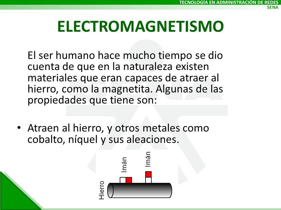 ELECTROMAGNETISMO El ser humano hace mucho tiempo se dio cuenta de que en la naturaleza existen materiales que eran capaces de atraer al hierro, como