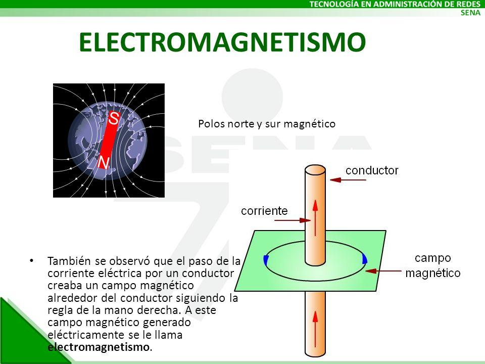 ELECTROMAGNETISMO También se observó que el paso de la corriente eléctrica por un conductor creaba un campo magnético alrededor del conductor siguiend