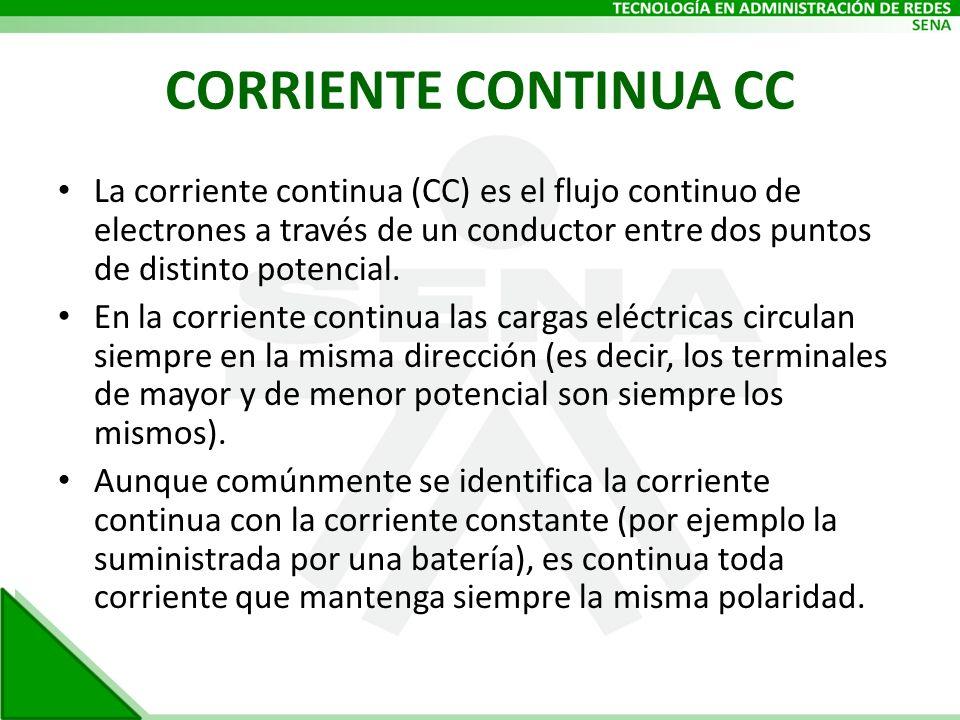 CORRIENTE CONTINUA CC La corriente continua (CC) es el flujo continuo de electrones a través de un conductor entre dos puntos de distinto potencial. E