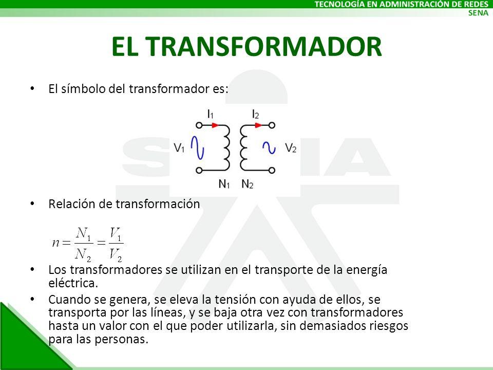EL TRANSFORMADOR El símbolo del transformador es: Relación de transformación Los transformadores se utilizan en el transporte de la energía eléctrica.