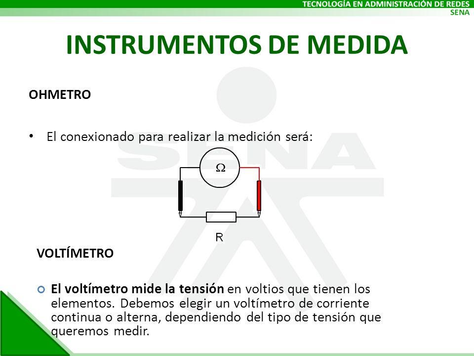 INSTRUMENTOS DE MEDIDA OHMETRO El conexionado para realizar la medición será: VOLTÍMETRO El voltímetro mide la tensión en voltios que tienen los eleme