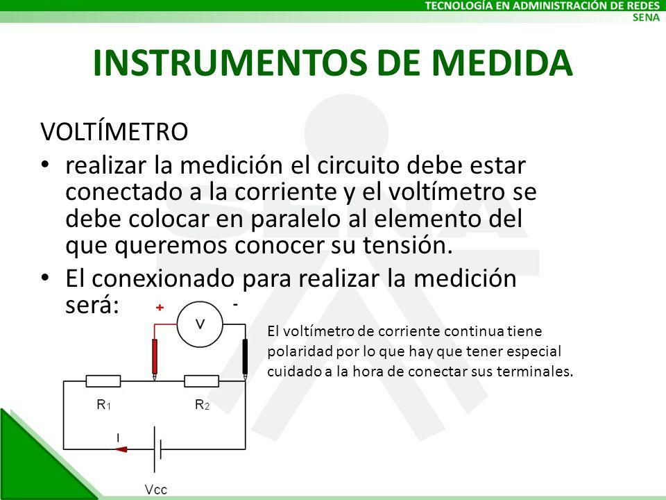 INSTRUMENTOS DE MEDIDA VOLTÍMETRO realizar la medición el circuito debe estar conectado a la corriente y el voltímetro se debe colocar en paralelo al