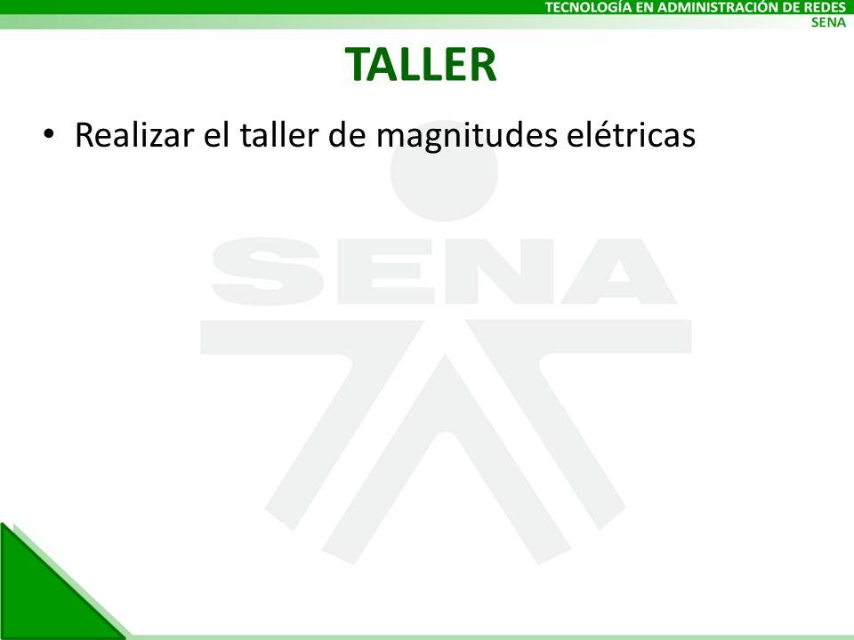 TALLER Realizar el taller de magnitudes elétricas