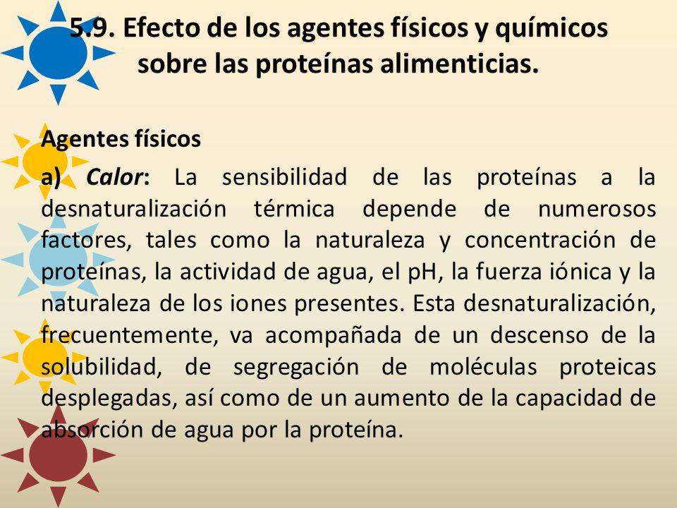 5.9. Efecto de los agentes físicos y químicos sobre las proteínas alimenticias. Agentes físicos a) Calor: La sensibilidad de las proteínas a la desnat