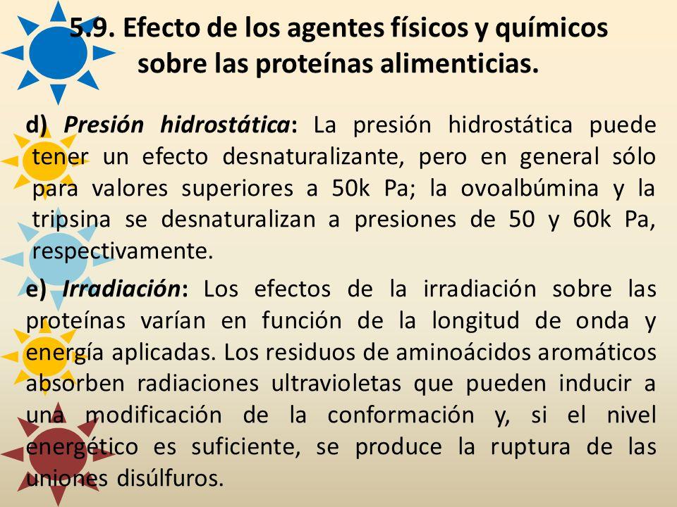 d) Presión hidrostática: La presión hidrostática puede tener un efecto desnaturalizante, pero en general sólo para valores superiores a 50k Pa; la ovo