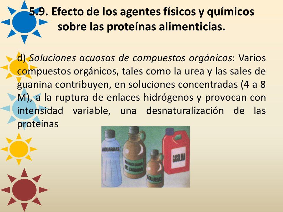 d) Soluciones acuosas de compuestos orgánicos: Varios compuestos orgánicos, tales como la urea y las sales de guanina contribuyen, en soluciones conce