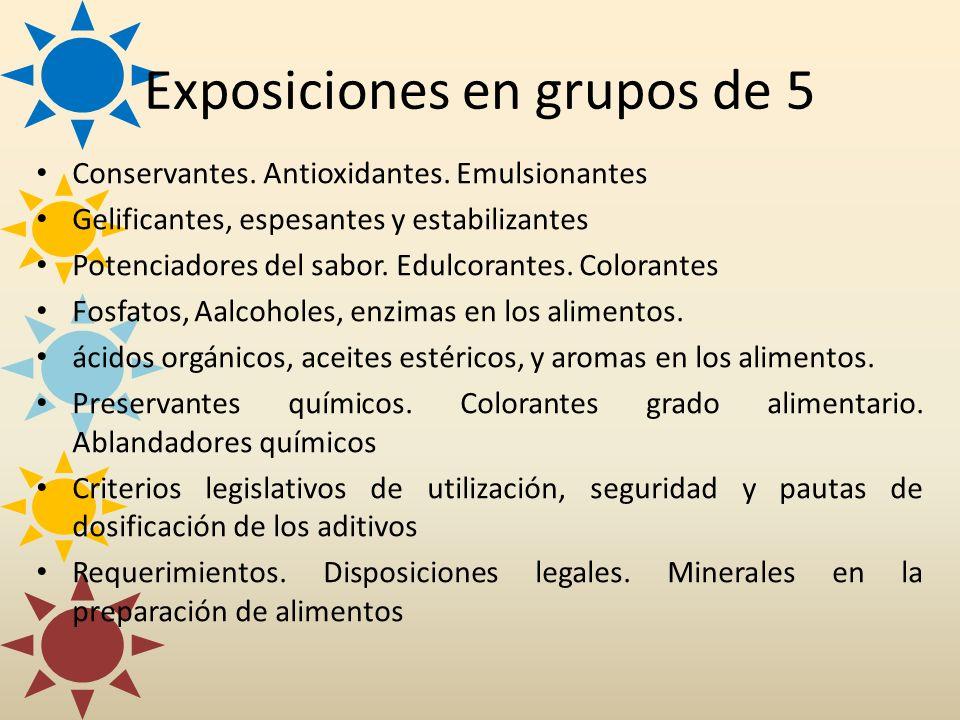Exposiciones en grupos de 5 Conservantes. Antioxidantes. Emulsionantes Gelificantes, espesantes y estabilizantes Potenciadores del sabor. Edulcorantes