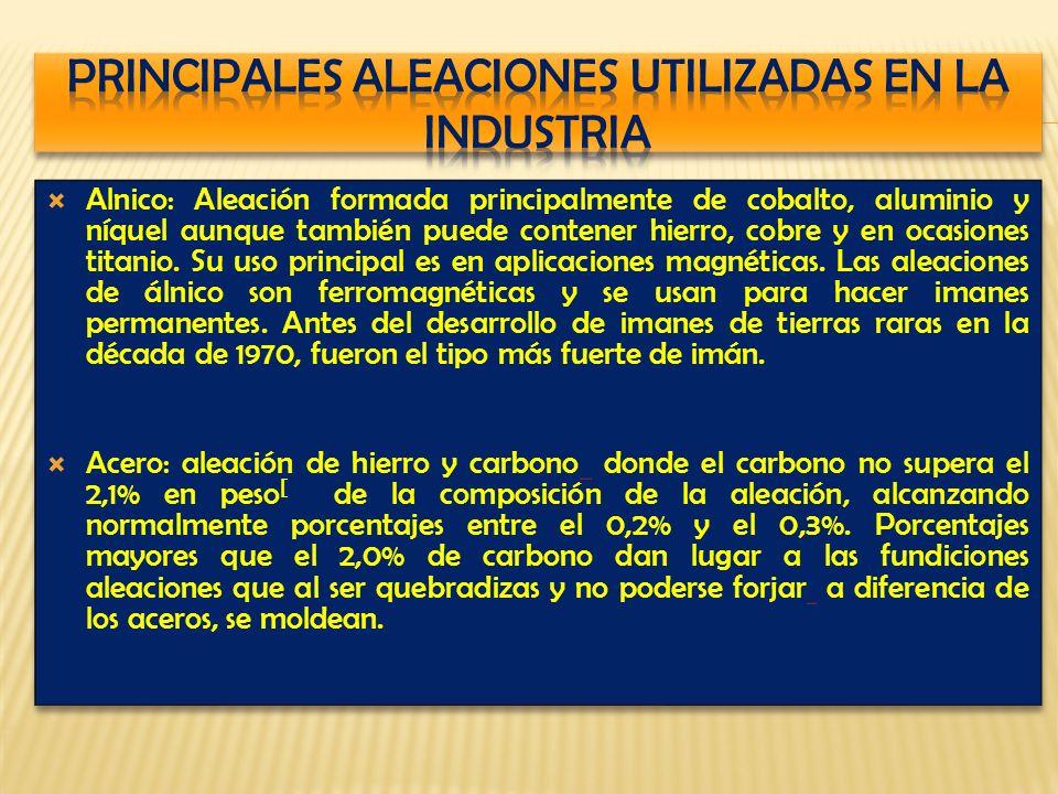 Alnico: Aleación formada principalmente de cobalto, aluminio y níquel aunque también puede contener hierro, cobre y en ocasiones titanio.