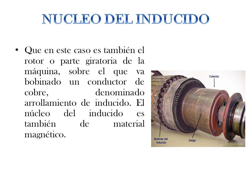 Que en este caso es también el rotor o parte giratoria de la máquina, sobre el que va bobinado un conductor de cobre, denominado arrollamiento de indu