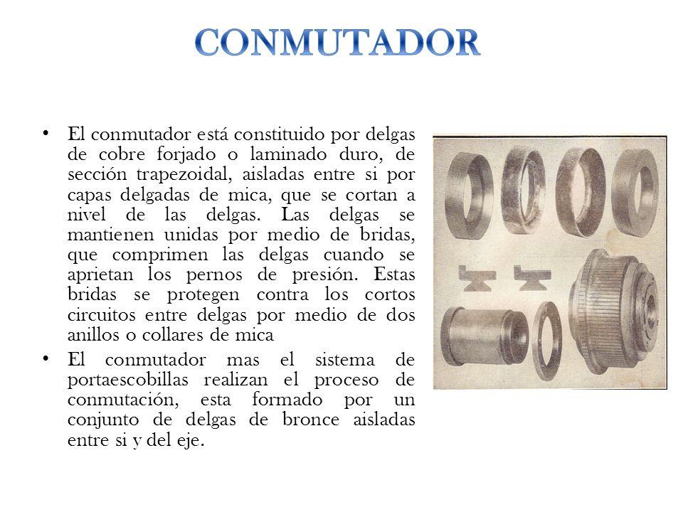 El conmutador está constituido por delgas de cobre forjado o laminado duro, de sección trapezoidal, aisladas entre si por capas delgadas de mica, que