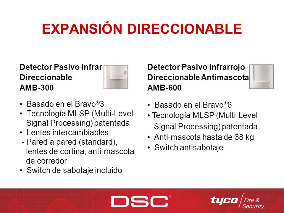 EXPANSIÓN DIRECCIONABLE Detector Pasivo Infrarrojo Direccionable AMB-300 Basado en el Bravo ® 3 Tecnología MLSP (Multi-Level Signal Processing) patent