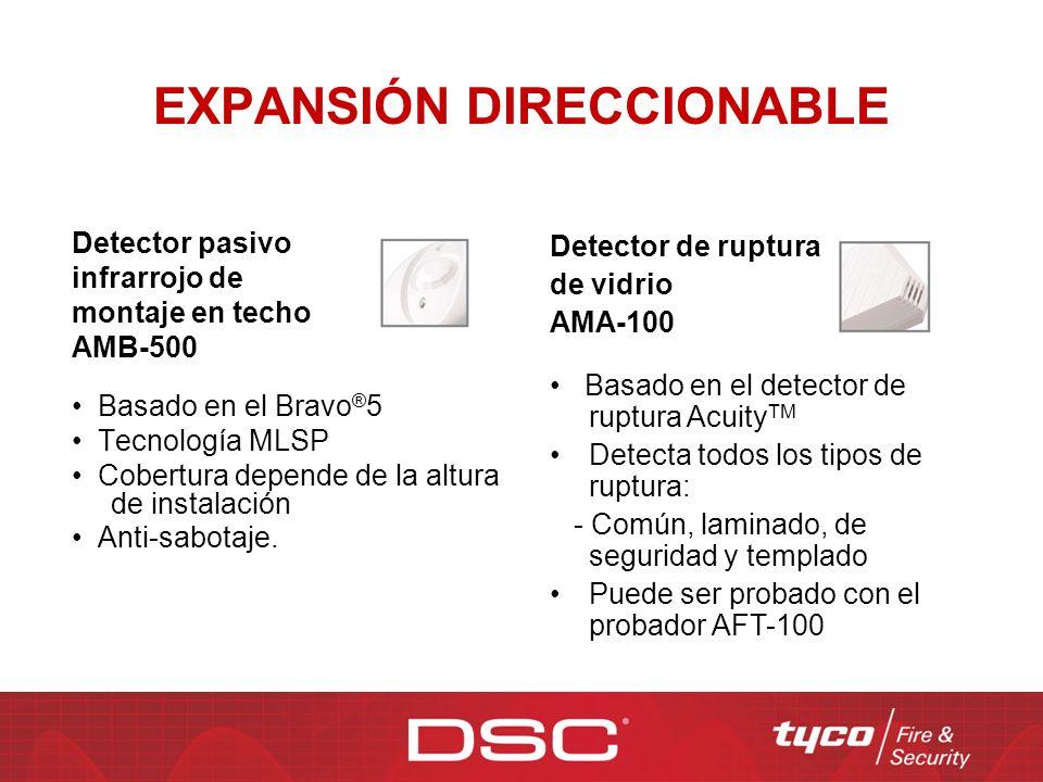 EXPANSIÓN DIRECCIONABLE Detector pasivo infrarrojo de montaje en techo AMB-500 Basado en el Bravo ® 5 Tecnología MLSP Cobertura depende de la altura d