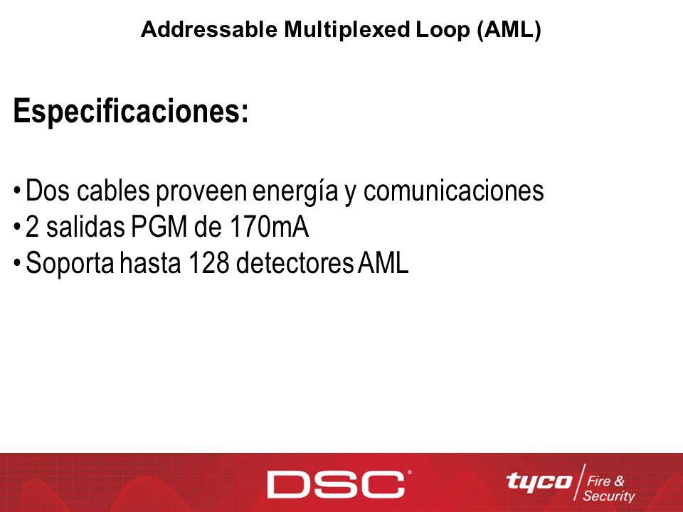 Addressable Multiplexed Loop (AML) Especificaciones: Dos cables proveen energía y comunicaciones 2 salidas PGM de 170mA Soporta hasta 128 detectores A