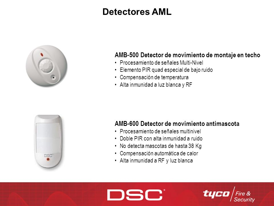 Detectores AML AMB-500 Detector de movimiento de montaje en techo Procesamiento de señales Multi-Nivel Elemento PIR quad especial de bajo ruido Compen