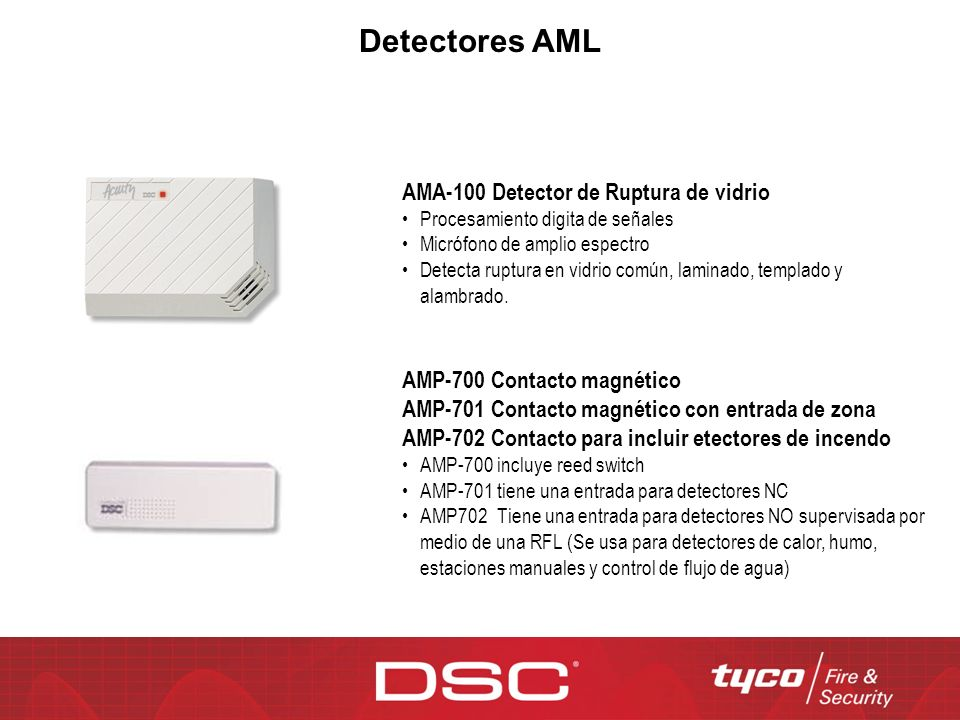 Detectores AML AMA-100 Detector de Ruptura de vidrio Procesamiento digita de señales Micrófono de amplio espectro Detecta ruptura en vidrio común, lam