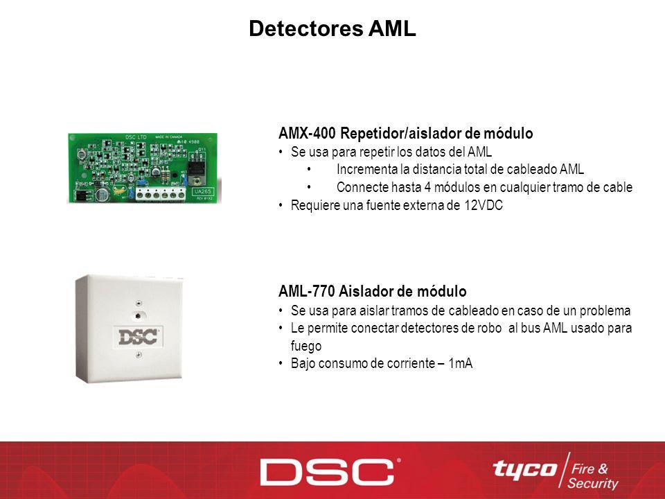Detectores AML AMX-400 Repetidor/aislador de módulo Se usa para repetir los datos del AML Incrementa la distancia total de cableado AML Connecte hasta