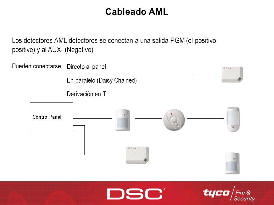 Cableado AML Los detectores AML detectores se conectan a una salida PGM (el positivo positive) y al AUX- (Negativo) Pueden conectarse: Derivación en T