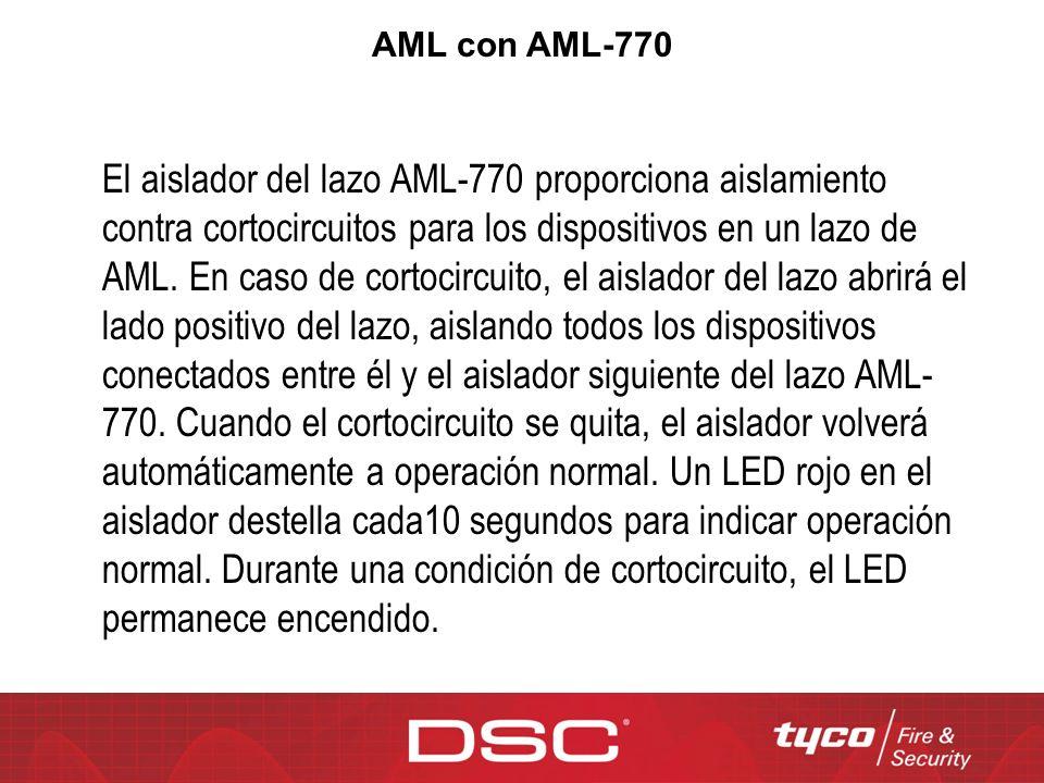 El aislador del lazo AML-770 proporciona aislamiento contra cortocircuitos para los dispositivos en un lazo de AML. En caso de cortocircuito, el aisla