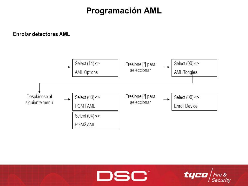 Programación AML Enrolar detectores AML Select (03) <> PGM1 AML Select (14) <> AML Options Presione [*] para seleccionar Select (00) <> AML Toggles De