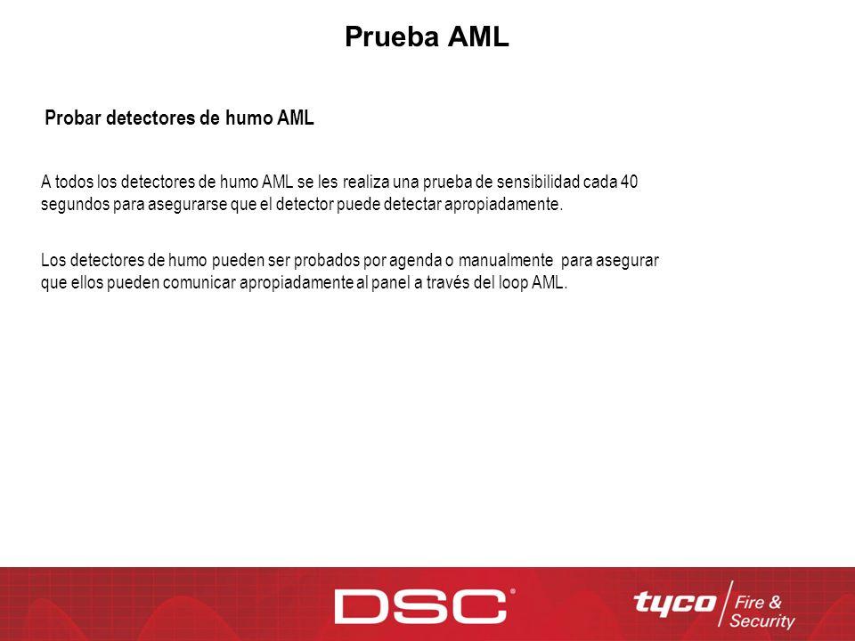 Prueba AML Los detectores de humo pueden ser probados por agenda o manualmente para asegurar que ellos pueden comunicar apropiadamente al panel a trav