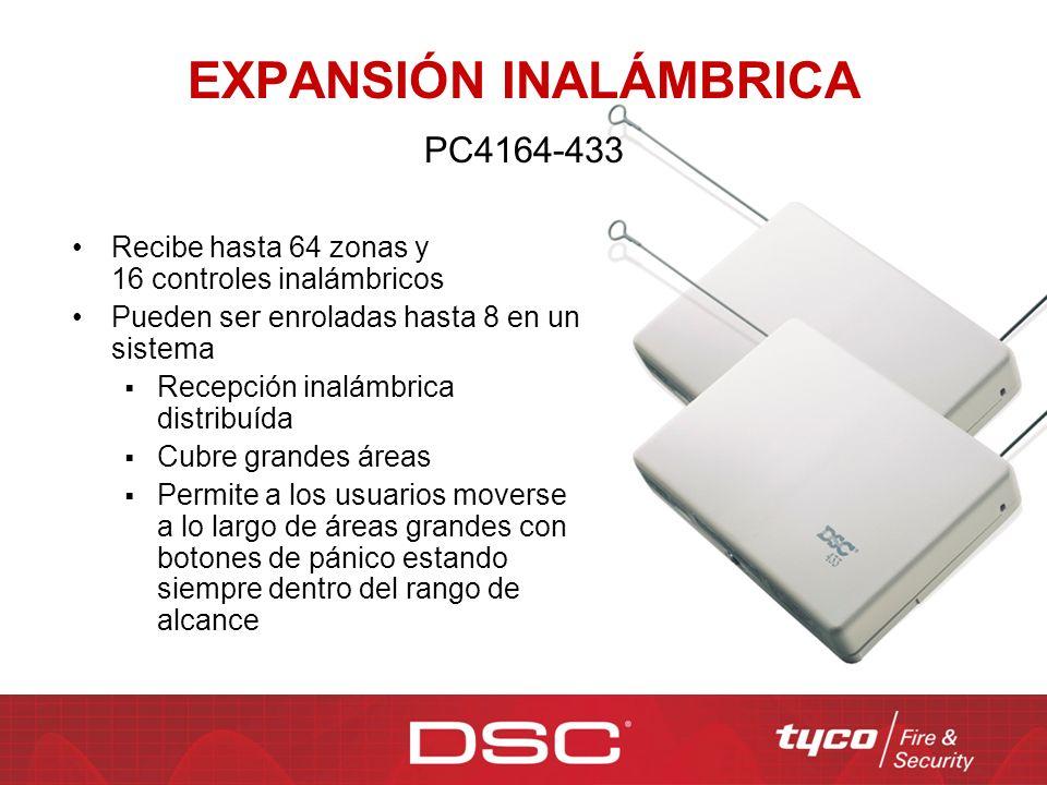 PC4164-433 Recibe hasta 64 zonas y 16 controles inalámbricos Pueden ser enroladas hasta 8 en un sistema Recepción inalámbrica distribuída Cubre grande