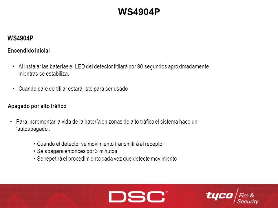 WS4904P Encendido inicial Al instalar las baterías el LED del detector titilará por 90 segundos aproximadamente mientras se estabiliza. Cuando pare de