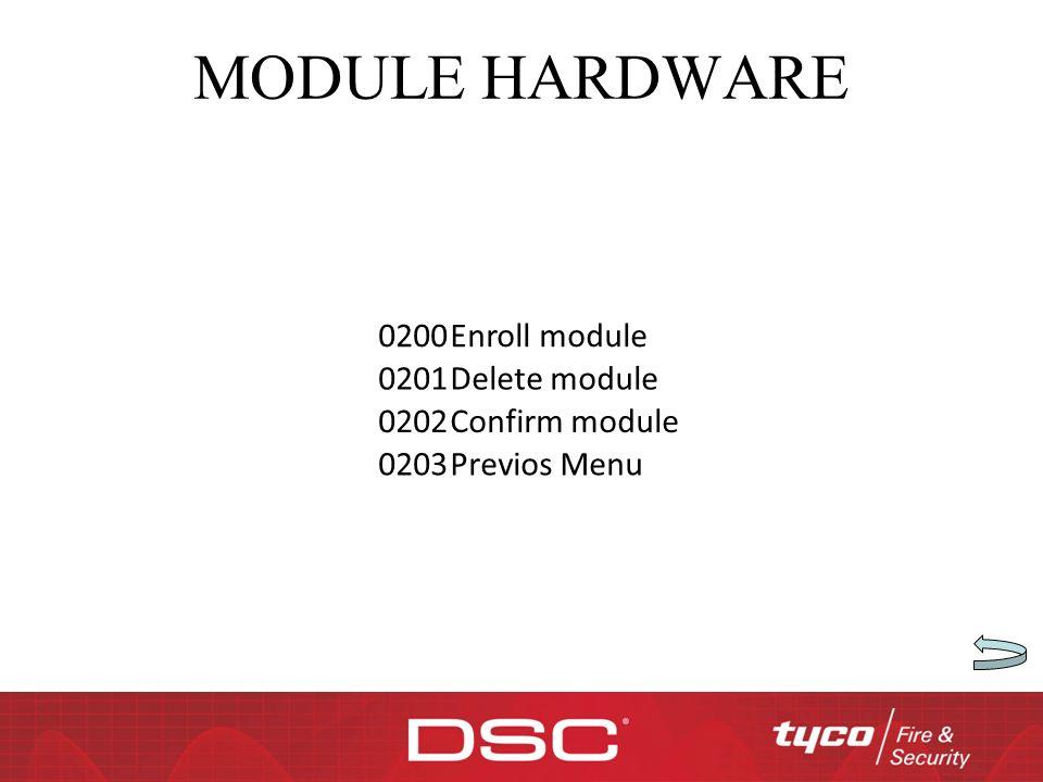 MODULE HARDWARE 0200Enroll module 0201Delete module 0202Confirm module 0203Previos Menu