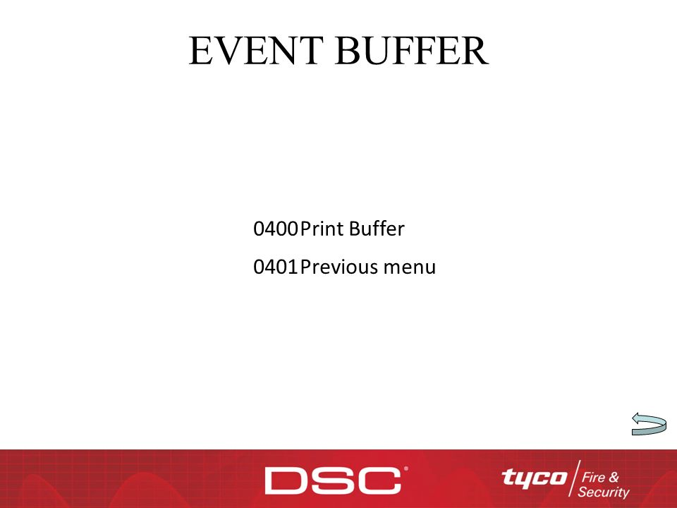 EVENT BUFFER 0400Print Buffer 0401Previous menu