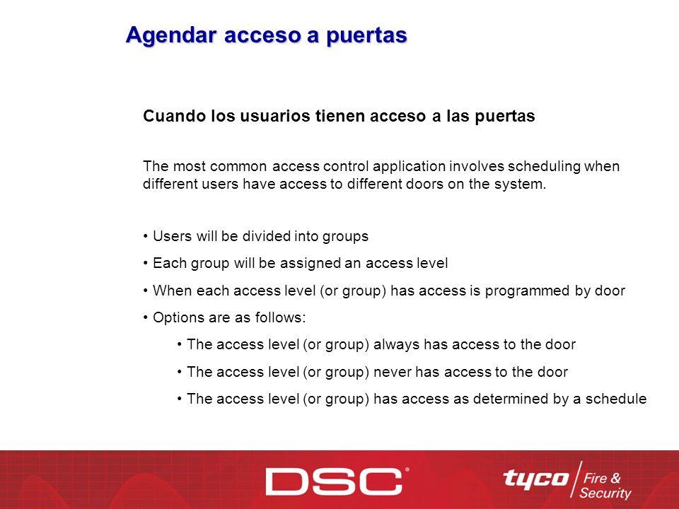 Agendar acceso a puertas Cuando los usuarios tienen acceso a las puertas The most common access control application involves scheduling when different