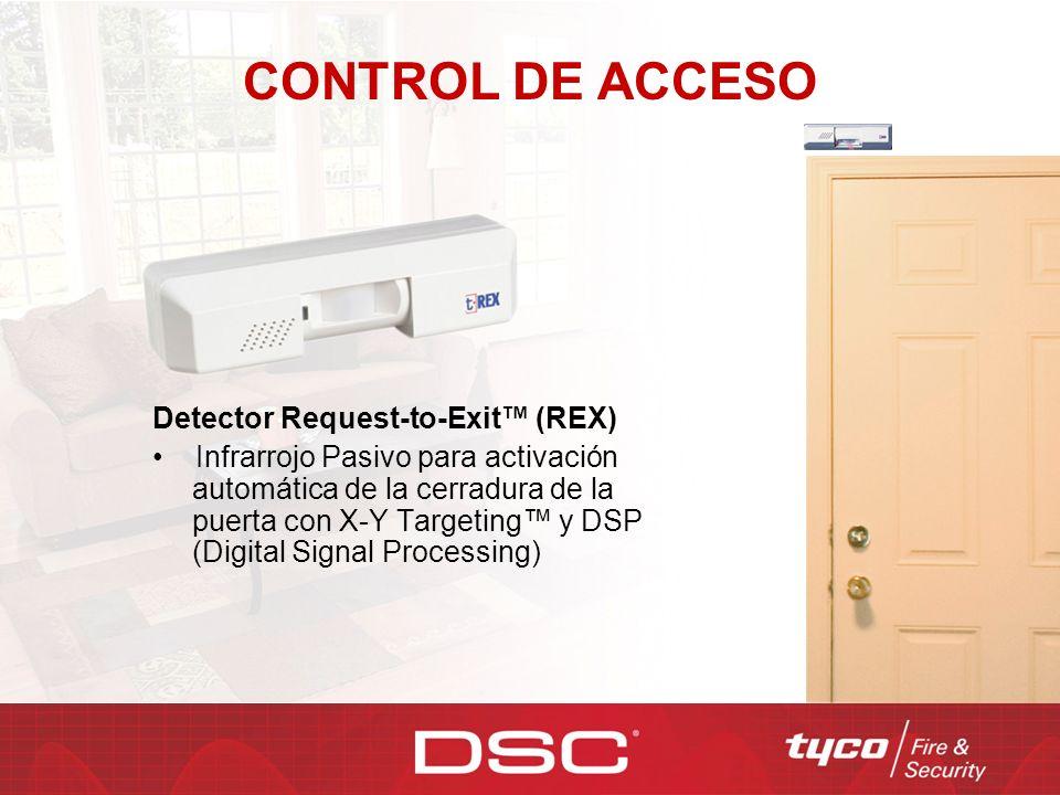 CONTROL DE ACCESO Detector Request-to-Exit (REX) Infrarrojo Pasivo para activación automática de la cerradura de la puerta con X-Y Targeting y DSP (Di