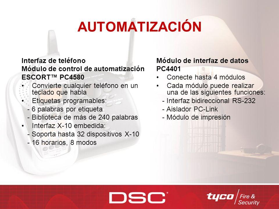 AUTOMATIZACIÓN Interfaz de teléfono Módulo de control de automatización ESCORT PC4580 Convierte cualquier teléfono en un teclado que habla Etiquetas p