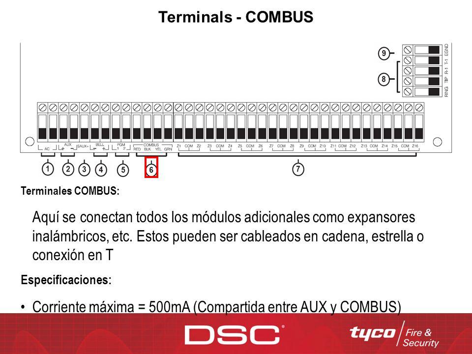 Terminals - COMBUS Terminales COMBUS: Aquí se conectan todos los módulos adicionales como expansores inalámbricos, etc. Estos pueden ser cableados en