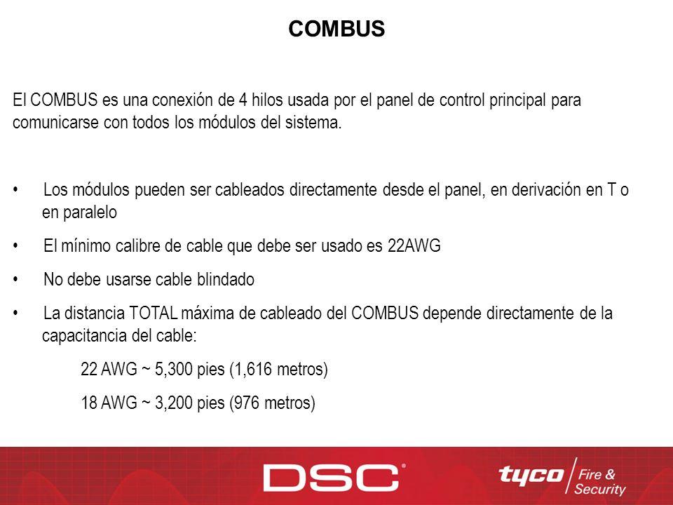 El COMBUS es una conexión de 4 hilos usada por el panel de control principal para comunicarse con todos los módulos del sistema. Los módulos pueden se