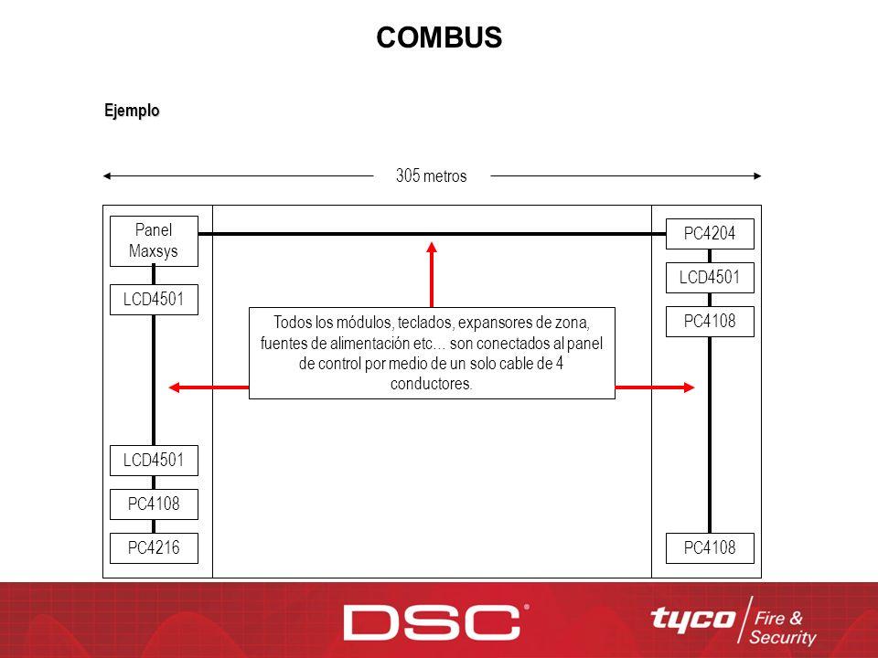 COMBUS 305 metros Panel Maxsys LCD4501 PC4204 LCD4501 PC4108 PC4216 PC4108 LCD4501 PC4108 Todos los módulos, teclados, expansores de zona, fuentes de