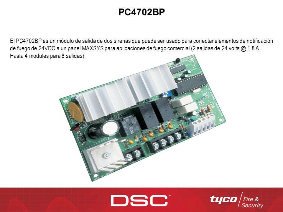 PC4702BP El PC4702BP es un módulo de salida de dos sirenas que puede ser usado para conectar elementos de notificación de fuego de 24VDC a un panel MA