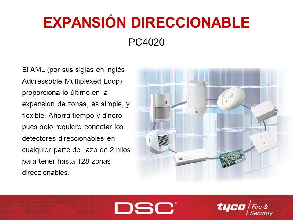 EXPANSIÓN DIRECCIONABLE PC4020 El AML (por sus siglas en inglés Addressable Multiplexed Loop) proporciona lo último en la expansión de zonas, es simpl